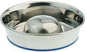 1. OurPets DuraPet Slow Feed Premium Stainless Steel Dog Bowl