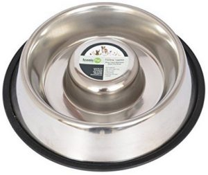 3. Iconic Pet Slow Feed Stainless Steel Pet Bowl for Dog or Cat