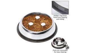 Stainless Steel Slow Feeder Dog Bowl